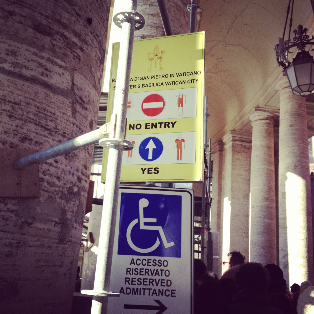No wrestling singlets or 1920s bathing costumes allowed inside the Vatican.