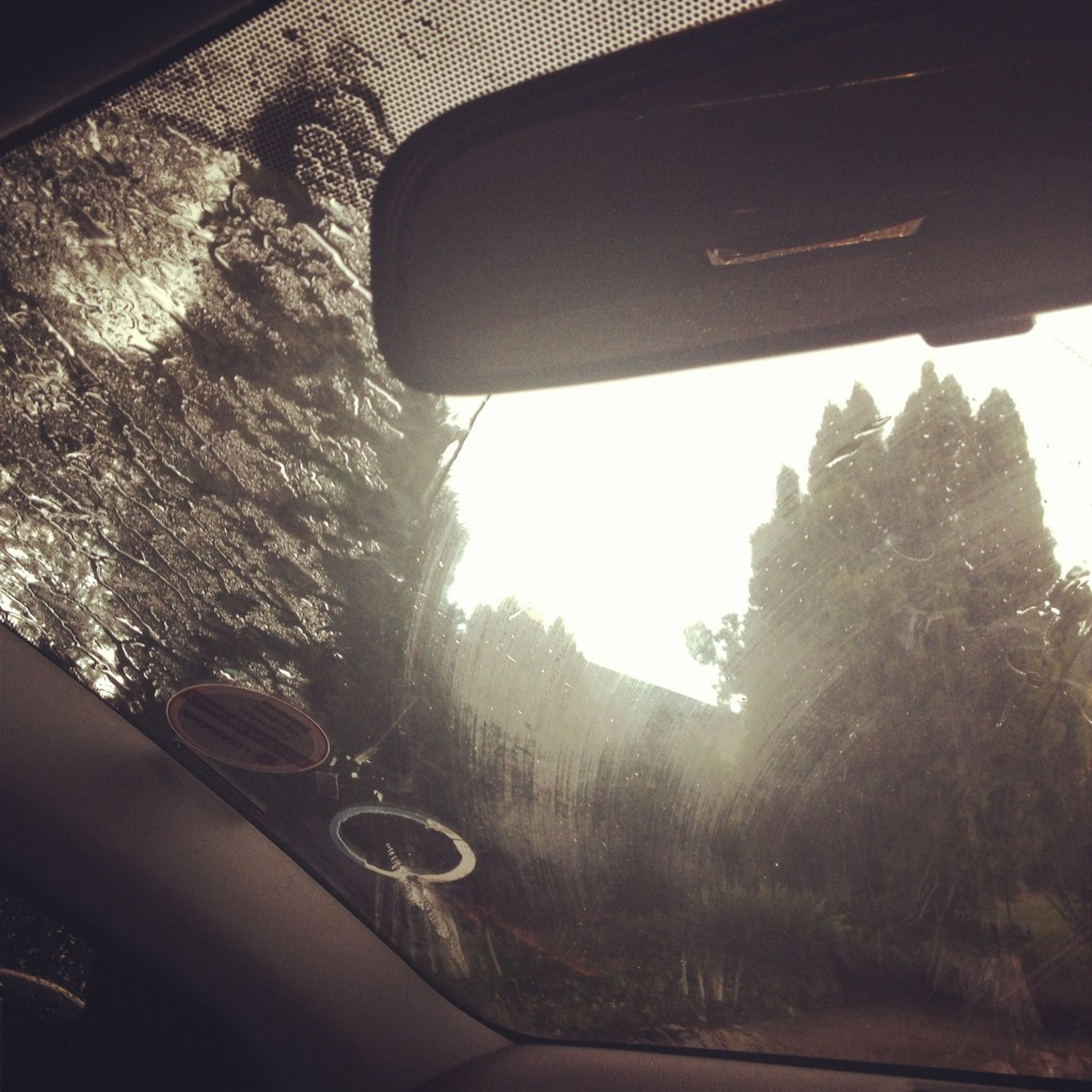 View from inside the car - crazy rain