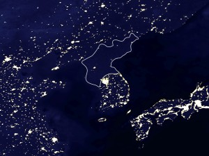 Satellite image of North Korea - no lights