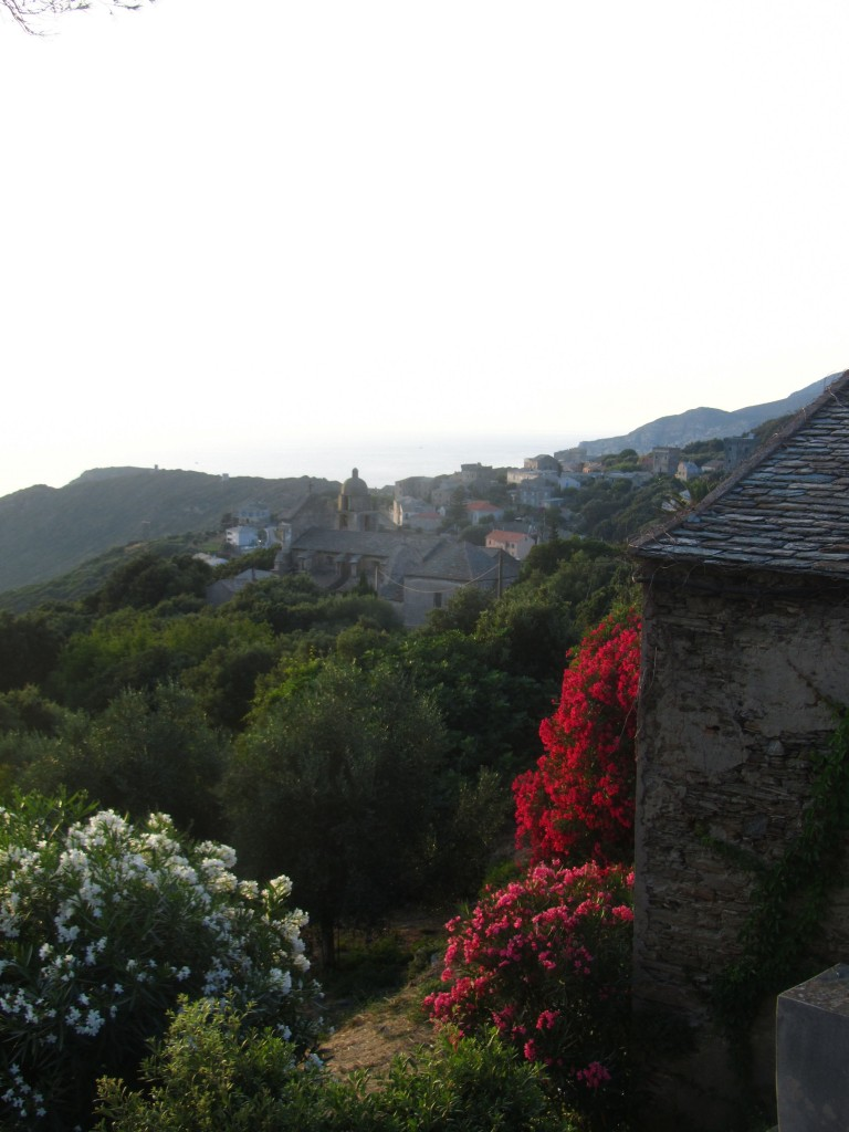 View from villa of town