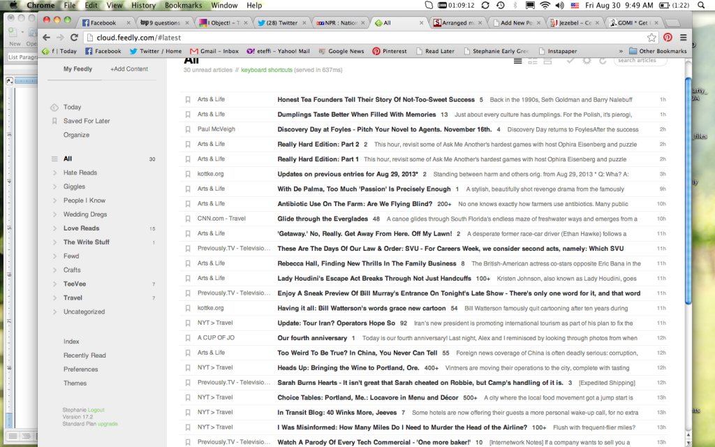 My Feedly reader - note categories for Hate Reads and Love Reads. I've already read the Hate Reads.
