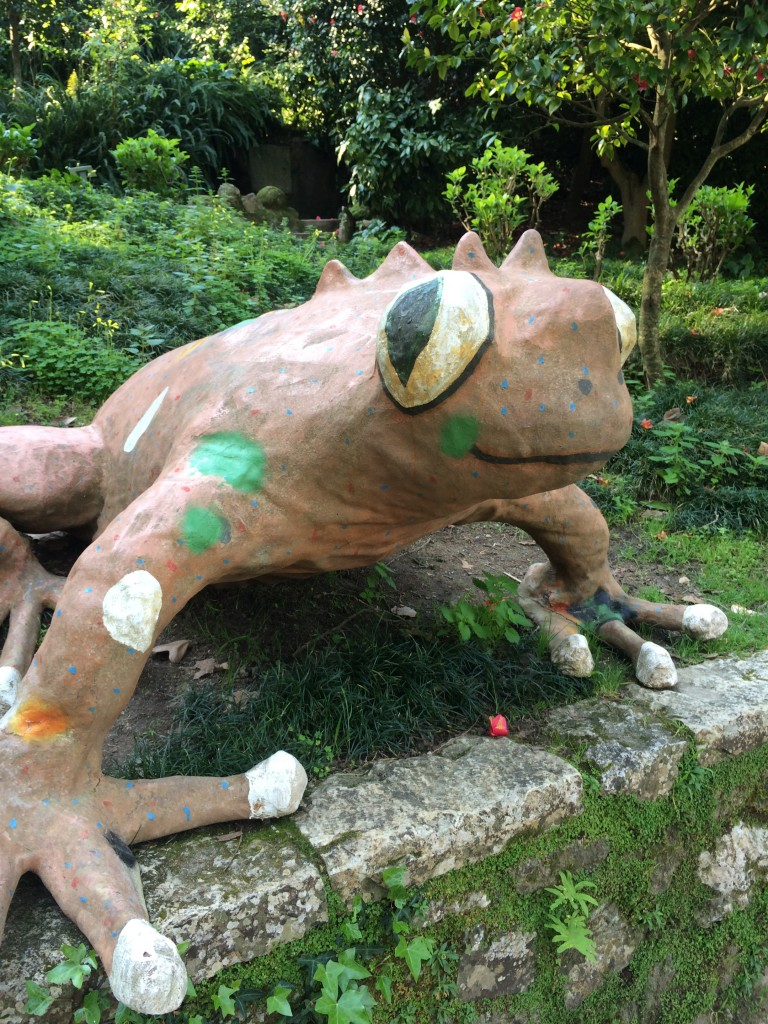 Frog sculpture at the local park