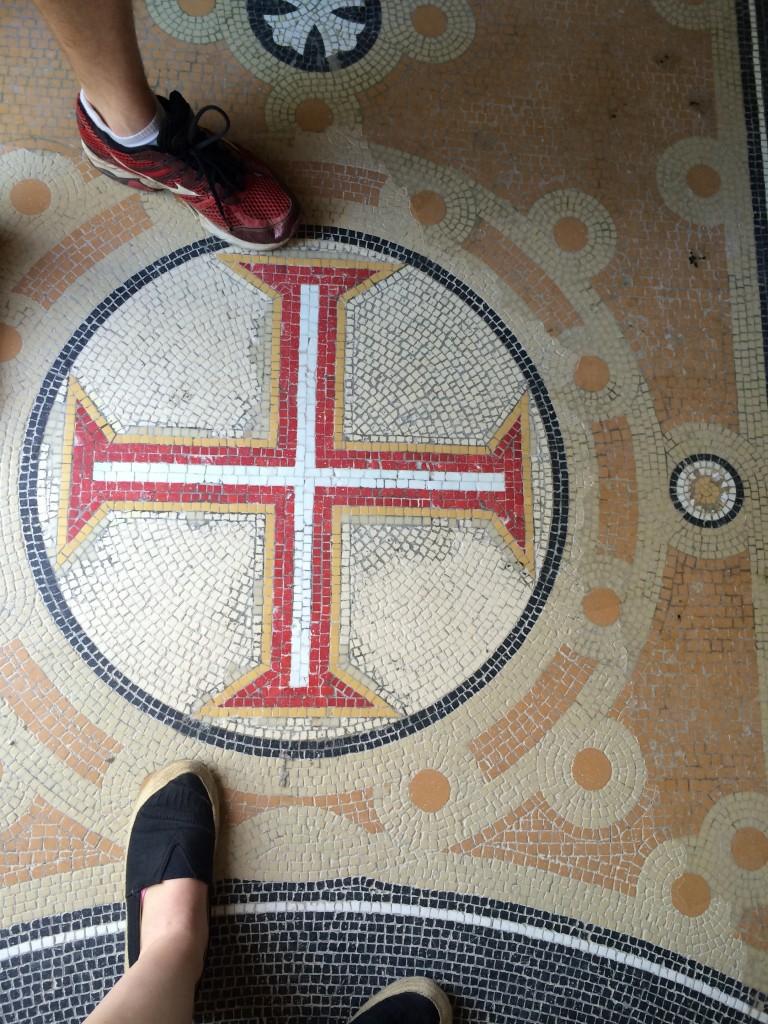 Templar cross on the floor of the chapel, Quinta da Regaleira