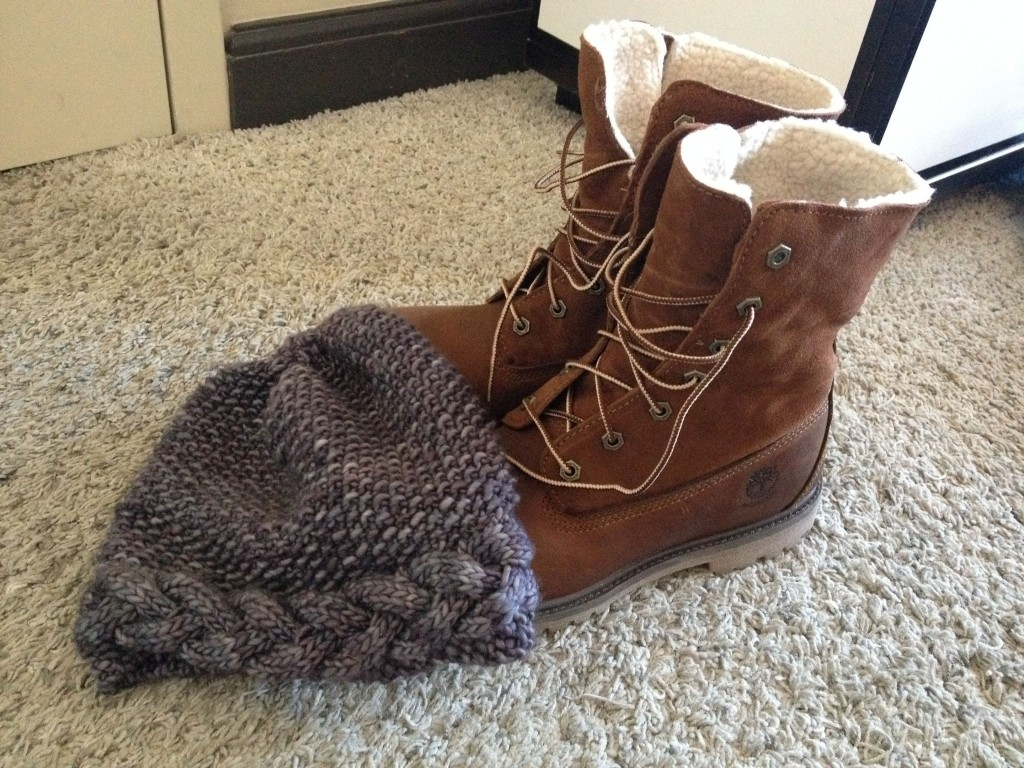 Timberland boots and a homemade hat