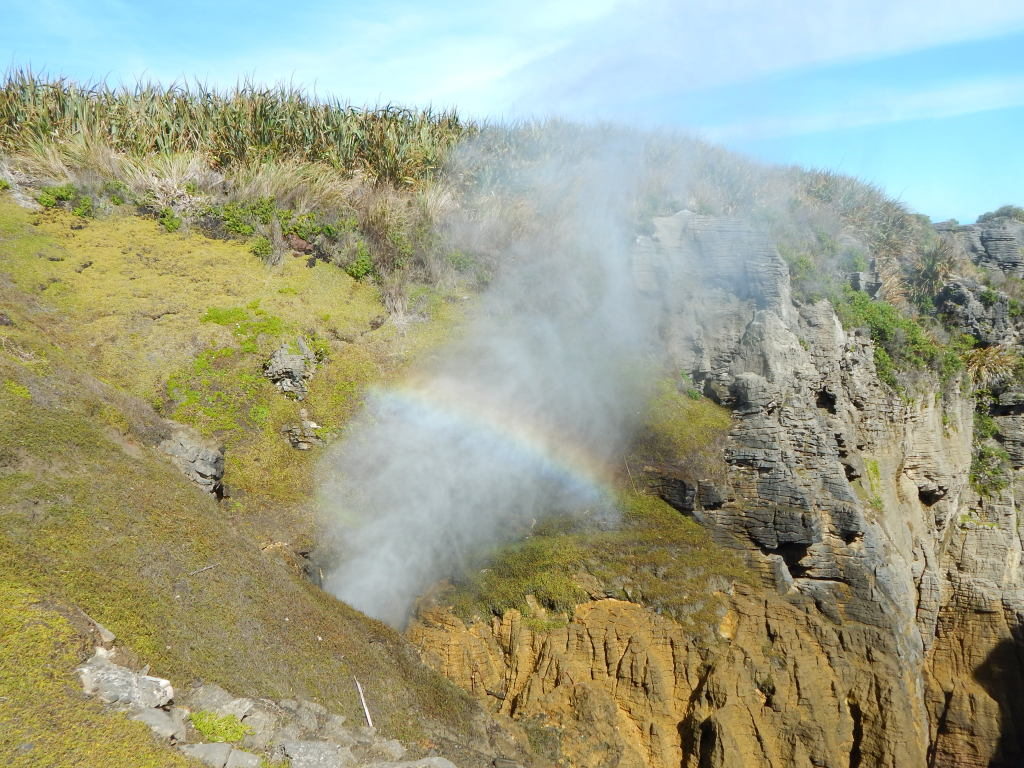 Rainbow over a blowhole