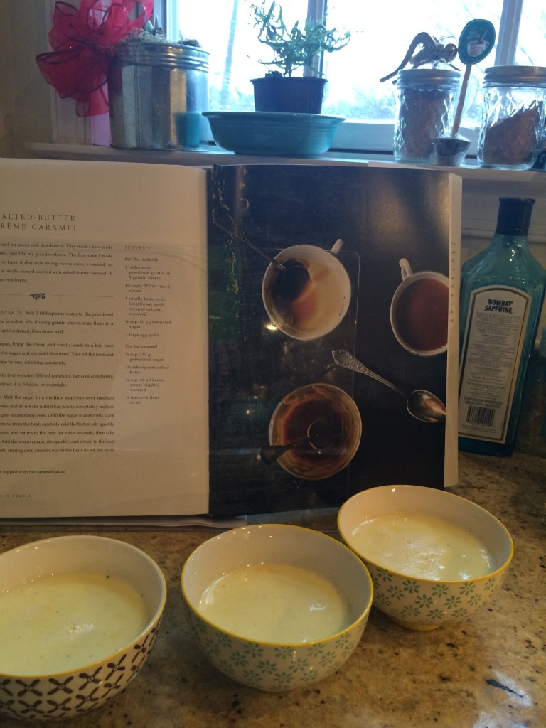 Custards in process, with cookbook